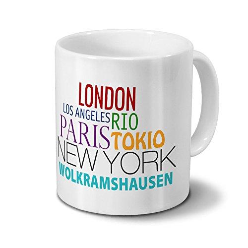 Städtetasse Wolkramshausen - Design Famous Cities of the World - Stadt-Tasse, Kaffeebecher, City-Mug, Becher, Kaffeetasse - Farbe Weiß