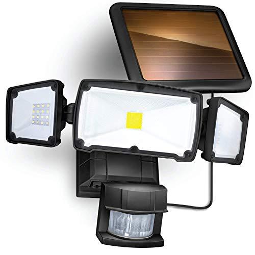 Home Zone Security Solar Motion Sensor Light - Outdoor Weatherproof Triple Head LED Security Flood Light, Black