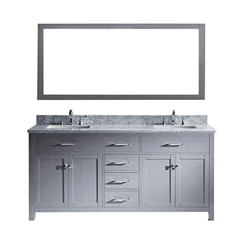 Virtu USA Caroline 72 inch Double Sink Bathroom Vanity Set in Grey w/ Square Undermount Sink, Italian Carrara White Marble Countertop, No Faucet, 1 Mirror - MD-2072-WMSQ-GR
