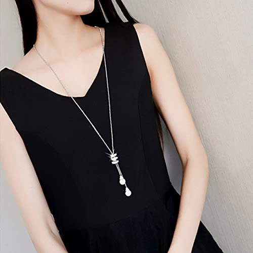 WSKL Collar con Colgante de Perlas de Cristal para Mujer, Gargantilla de Fiesta para Mujer,Colgante enEspiral de Diamantes de imitación,Largo
