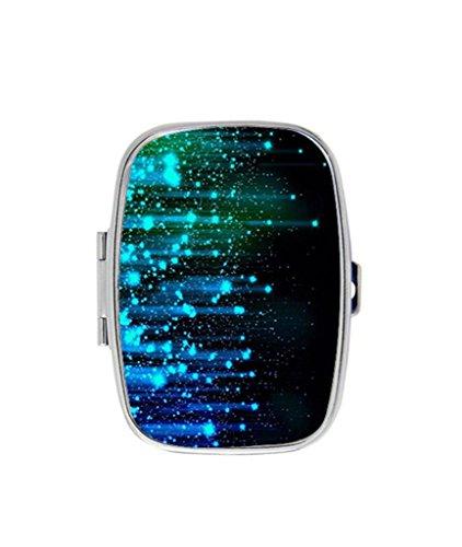 MantelShop Abstract Lights Blue Line Sparkles Custom Fashion Rectangular Pill Box Medicine Tablet Holder Organizer Case