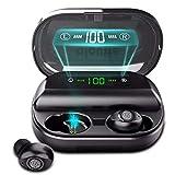 Auriculares inalámbricos TWS, Auriculares Bluetooth 5.0 con Tiempo de reproducción 380H, Control táctil, Sonido de Graves inmersivo, IPX7 Resistente al Agua, Estuche de Carga USB-C para Deportes