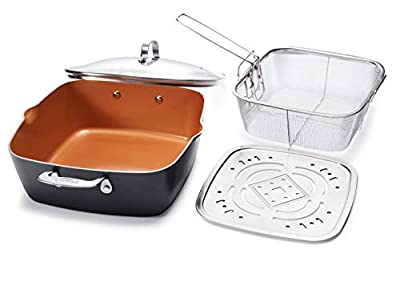 Gotham Steel - 6 Quart XL Nonstick Copper Deep Square All in One 6 Qt Casserole Chef?s Pan & Stock Pot- 4 Piece Set, Includes Frying Basket and Steamer Tray, Dishwasher Safe