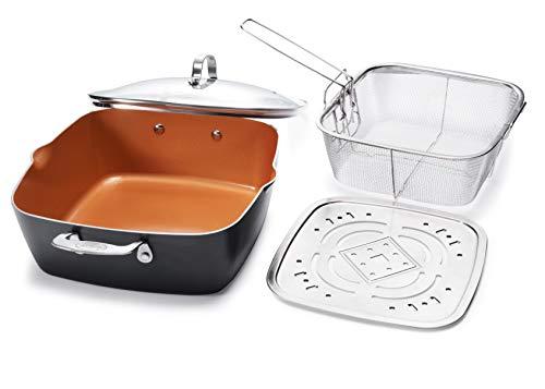 GOTHAM STEEL - 6 Quart XL Nonstick Copper Deep Square All in One 6 Qt Casserole Chef
