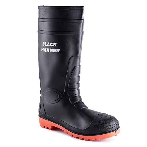 Black Hammer Mens Waterproof Steel Toe Cap Wellies with Steel Midsole...