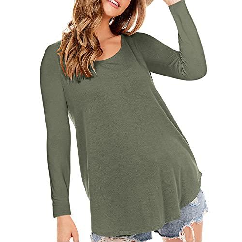 YANFANG Camiseta Suelta para Mujer,Camiseta De Manga Larga con Cuello Redondo Color SóLido,Mujeres Verano Camisa Casual TúNica Blusa,Blusa Mujer Verano,Blusas SeñOra,Blusas Primavera-Verde-S