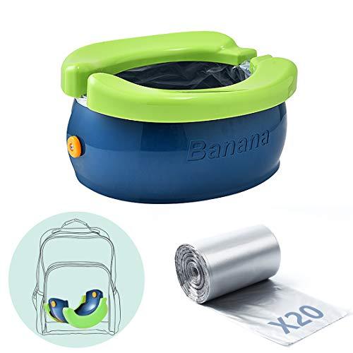 Orinal de viaje para niños, Asiento de entrenamiento para ir al baño,Fácil de transportar y usar cuando se viaja al aire libre o al ir al baño,con 20 bolsa de plástico almacenamiento (Azul verde)