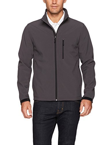 Amazon Essentials Men's Water-Resistant Softshell Jacket, Dark Grey, Medium