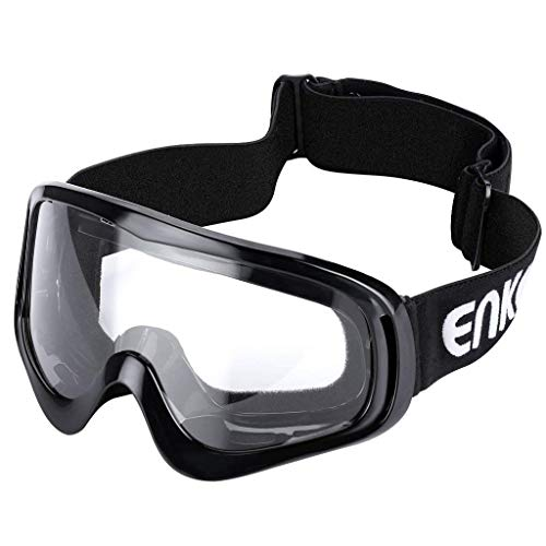 Motorcycle Goggles ATV Dirt Bike Off Road Racing MX Goggles Dust Proof Bendable Eyewear for Cycling Motocross Skiing (Clear lens)