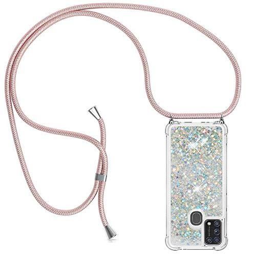 YuhooTech Handykette Hülle Kompatibel mit Samsung Galaxy M31 - Quicksand Glitzer Hülle mit Band - Silikon Handyhülle mit Kordel Umhängenband - Schnur mit Treibsand Hülle zum Umhängen