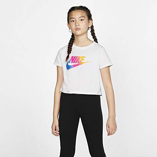NIKE Sportswear Short T-Shirt Girls Camiseta de Manga Corta, Niñas, Blanco (White), XL (156-166 CM)