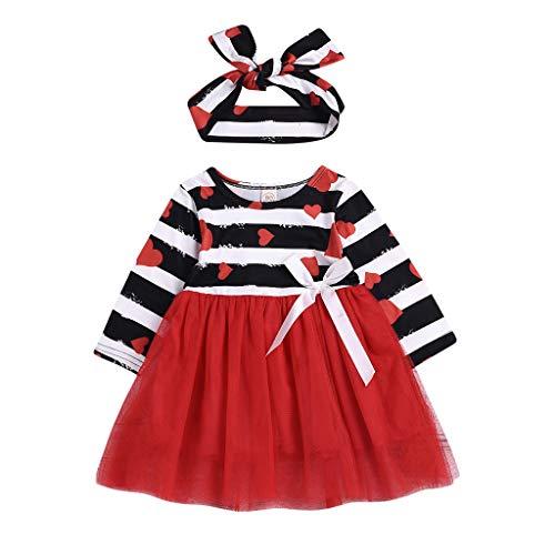 Manches longues robe de Fille, Mamum Enfant bébé fille Valentine Bande coeur Tutu Tulle à manches longues robe de princesse bandeau ensemble (110 (2-3 Ans), rouge)