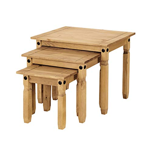 Corona Nest of Tables, Mexican Pine