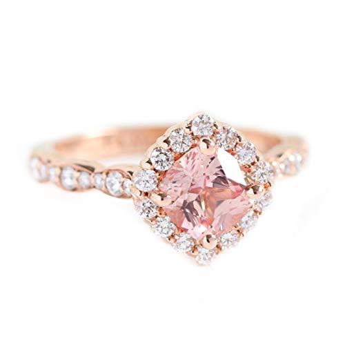 Tiara Ring 925 Sterling Silber Pfirsich Rosa Morganit Versprechen Ring Roségold Frauen Ring (62 (19.7))