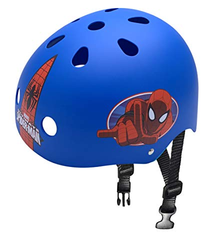 Stamp- Casque Skate Spiderman Marvel Skateboard, SM250102, Blue, 53-57 cm de Tour de tête