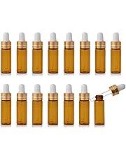 Enslz 15 Stuks Mini Amber Hervulbare Glas Essentiële Olie Flessen Oogdruppelaar voor Essentiële Oliën Parfums Cosmetische Monster Opslag Gouden Schroefdop (5ml)