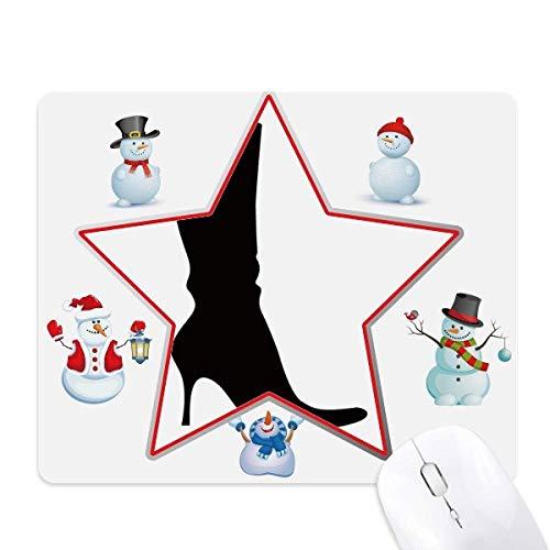 Eenvoudig Patroon Zwart Hoge Laarzen Outline Kerstmis Sneeuwman Familie Star Mouse Pad