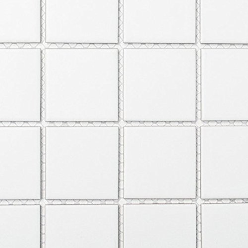 Mosaik Fliese Keramik weiß matt für BODEN WAND BAD WC DUSCHE KÜCHE FLIESENSPIEGEL THEKENVERKLEIDUNG BADEWANNENVERKLEIDUNG Mosaikmatte Mosaikplatte