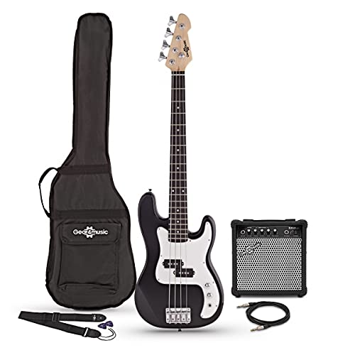 3/4 Bass Guitar LA by Gear4music Black with 15W Amp