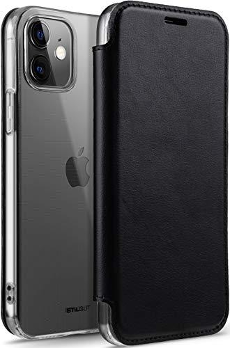 StilGut Funda Compatible con iPhone 12 Mini, Carcasa Transparente con Tapa de Piel, Tarjetero y Bloqueo RFID/NFC, Negro