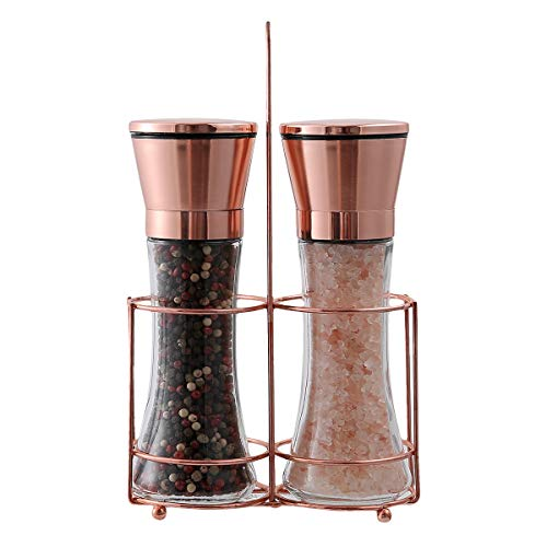 bonris Copper Stainless Steel Salt and Pepper Grinder Set Manual Himalayan Pink Salt Mill Salt and Pepper Shakers with Adjustable Coarseness and Clear Glass Body (Pack of 2)