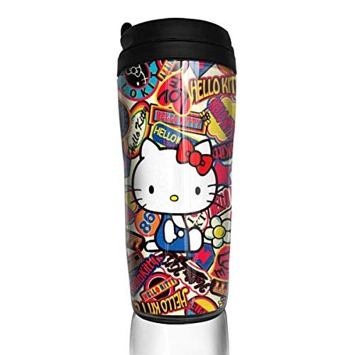 Kaffeetasse Hello Kitty Kaffeetassen Reisebecher Wärmer Becher Tasse Kunst Wasserflasche Thermoskanne Kaffeetassen mit Deckel 12 Unzen anpassen