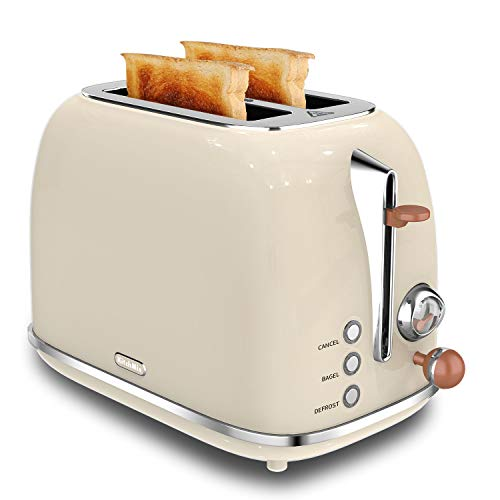 2 Slice Toaster, KitchMix Retro Stainless Steel Bread Toasters with 6 Settings, 1.5 In Extra Wide Slots, Bagel/Defrost/Cancel Function, Removable Crumb Tray-Beige