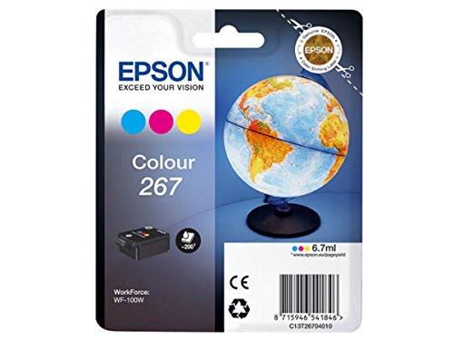 Epson Original 267 Tinte Globus WF-100W WF-110W, wisch- und wasserfeste Pigmenttinte (Multipack, 3-farbig)