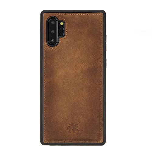 Venito Lucca Leather Case Compatible with Samsung Galaxy Note 10 Plus (6.8 inch) – Disinfected with a UV Sanitizer – Extra Secure with Padded Back Cover - Antique Brown