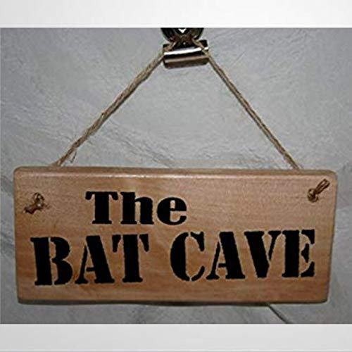 BYRON HOYLE The BAT CAVE Daddy Dad Father Wood Hanging Sign Garage Workshop Den Pit Shed Home Office Indoor Funny Wooden sign Wood Plaque Wall Art wall hanger Home Decor