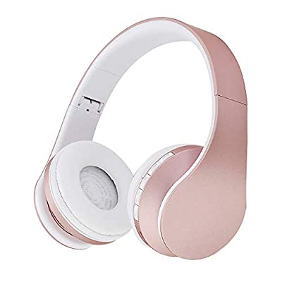 Andoer Wireless Bluetooth Over Ear Stereo Foldable Headphones, Wireless and Wired Mode Headsets with Soft Memory-Protein Earmuffs w/Mic for Mobile Phone PC Laptop(Rose Gold) by Andoer