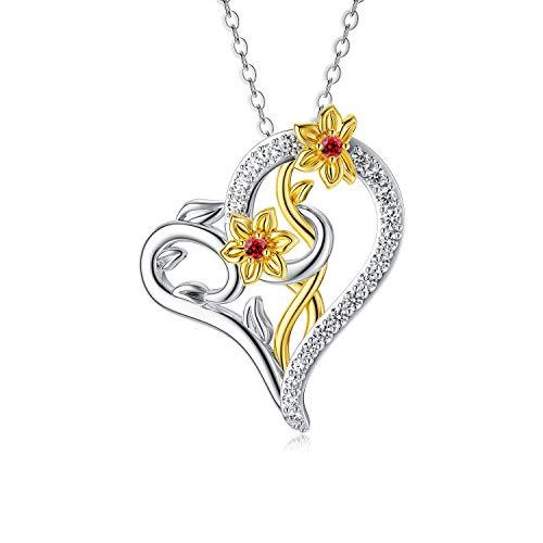 AOBOCO Collar de flores de cumpleaños de marzo, collar de narciso de plata de ley para mujer con cristal regalo de cumpleaños para mujer