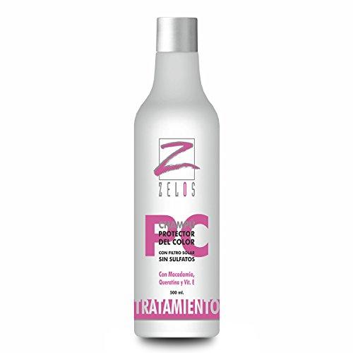 Champú Cabellos Teñidos Profesional Protector Del Color 500 ml - Sin Sulfatos ni Parabenos - Con Queratina, Macadamia y Vitamina E - Aumenta La Duración Del Color y Brillo - Zelos