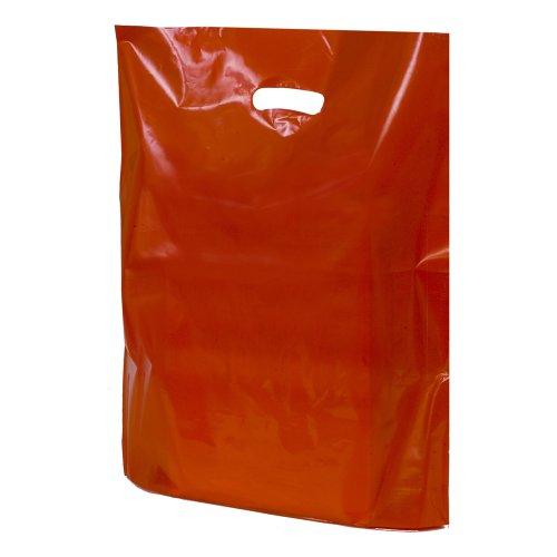 UNIPACKLTD® Kunststoff-Tragetaschen, 38 cm x 46 cm + 7 cm, Rot, 1 Box – 50 Stück