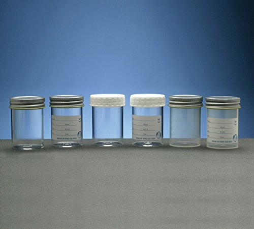 SLS Select SLS7550 Polystyrene Container, Metal Cap, No Label, 100 mL (Pack of 48)