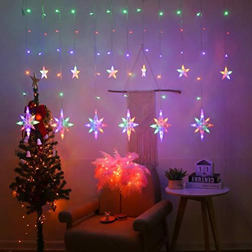 Yuciya Vorhang Fee Lichterketten, 3,5m Polaris LED Fenster Vorhang Lichterkette für Hochzeitsfeier Hausgarten Schlafzimmer im Freien Innenwand Weihnachten Dekorationen