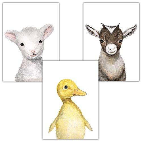 Frechdax® 3er-Set Bilder Kinderzimmer Deko Junge Mädchen - DIN A4 Poster Tiere - Wandbilder - Porträt | Waldtiere Safari Afrika Tiere Porträt (3er Set Ente, Ziege, Lamm)