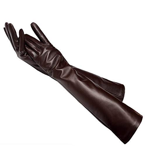 Bernice Winifred Mehrere Farben 50cm lange Lederhandschuhe Schaffell Damen Lederhandschuhe warme Damen Winterhandschuhe Damenhandschuhe Jujube 6.5