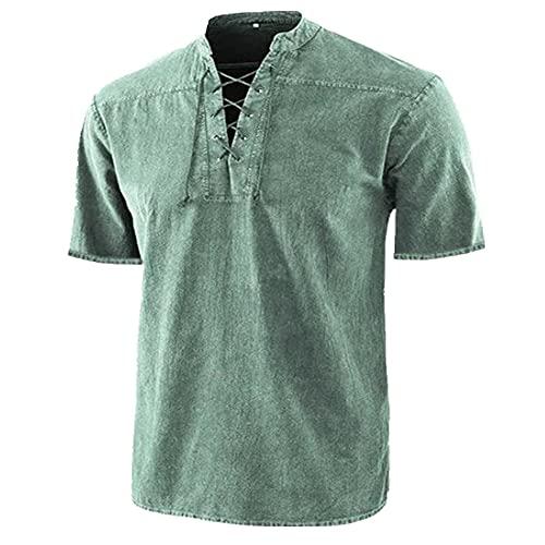 N\P Camisa de manga corta casual con cuello alto de color sólido para hombre - verde - 3X-Large