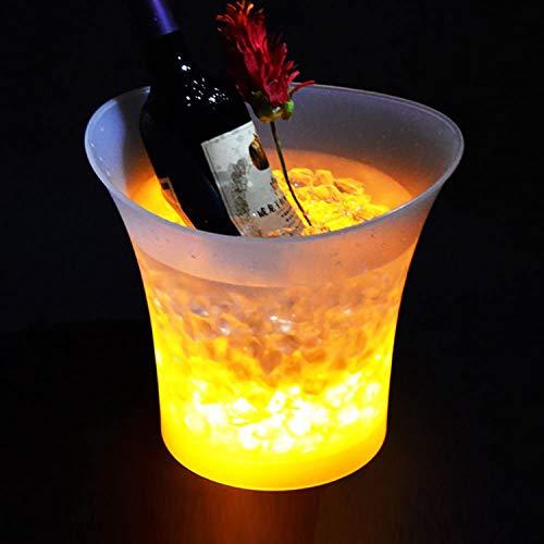 R&P 12 Piezas 5L Colorido LED Luz Hielo Cubo de Champán Vino Cerveza Enfriador (Baterías no Incluidas)