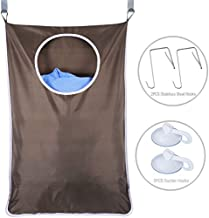 Door-Hanging Laundry Hamper Bag White, Foldable & Space Saving Corner Laundry Organiser with 2PCS Stainless Steel Door Hooks 2PCS Suction Hooks,Grey (Color : Coffee)