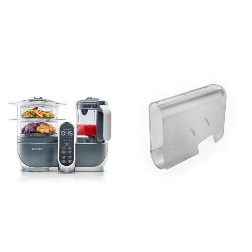 Babymoov Nutribaby (+) industrial grey - Multifunktions Küchenmachine + Babymoov Displaygehäuse Nutribaby (+) gebürsteter Alu-Effekt