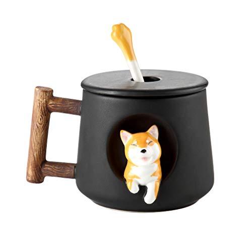 Xiaokeai Kaffeebecher Keramik Kaffeetasse glatt-mattierte Porzellantasse Handgemachte Teetasse Kaffeetasse mit Griff 3D Tiere Neuheit Weihnachten Geburtstags-Geschenk Kaffeetassen & Becher (Size : A)