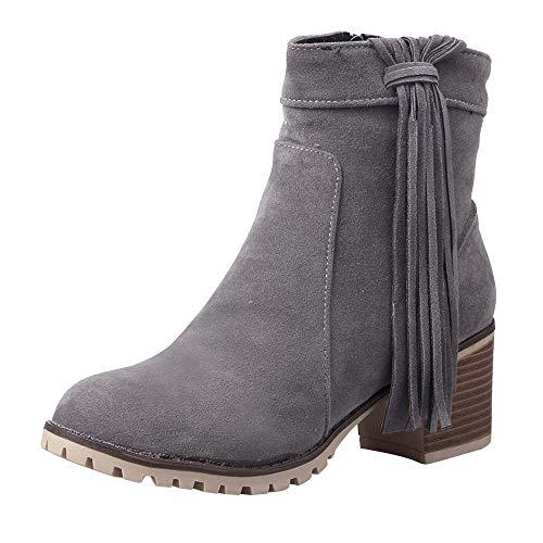 Riou Böhmische Damen Stiefeletten Quaste Blockabsatz Reißverschluss Elegant Freizeit Kurze Stiefel Damenschuhe (42 EU, Grau B)