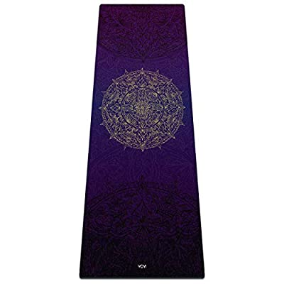 "YOYI Yoga Mat - High Density Eco-Friendly Natural Rubber Fitness Mat, Non-Slip Exercise Mat for Hot Yoga, Pilates, Exercise, Extra Long & Comfortable 5mm Thick 72""x 26"", with Carry Strap"