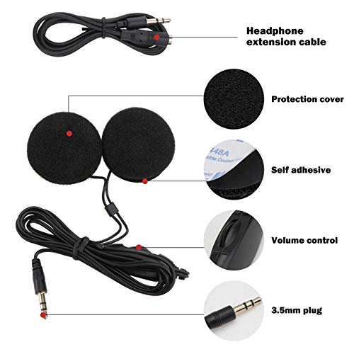 WINOMO 3.5 mm Klinkenstecker Stereo Motorrad Helm Lautsprecher Kopfhörer mit Volume-Steuerung für Handy MP3 GPS (Schwarz) - 5