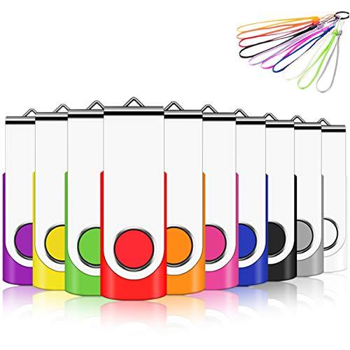 EASTBULL USB Stick 32GB 10 Stück USB 2.0 Speicherstick Flash-Laufwerk Memory Sticks (32GB, Mehrfarbig-2)