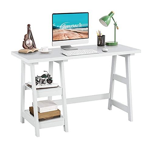 FurnitureR Caballete Escritorio de computadora Blanco con 2 estantes de Almacenamiento extraíbles Estación de Trabajo de Oficina en...