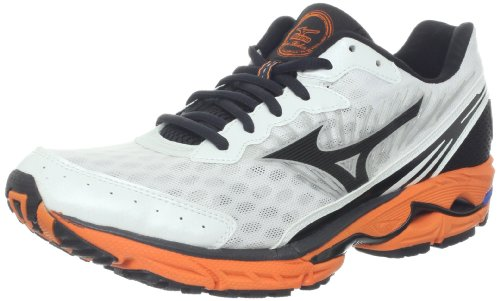 Mizuno Men's Wave Rider 16 Running Shoe,White/Orange/Black,11 D US