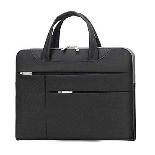 RZL PAD & TAB cases For Macbook New Air Pro, Double Pocket Nylon Portable KUMON Laptop Bags Sleeve Handbag Notebook Bag for Macbook New Air Pro 13 15 13.3 15.6 inch (Color : Black, Size : 13 inch)